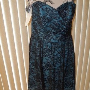 ALFRED ANGELO BLACK/BLUE BRIDESMAID DRESS SIZE 14